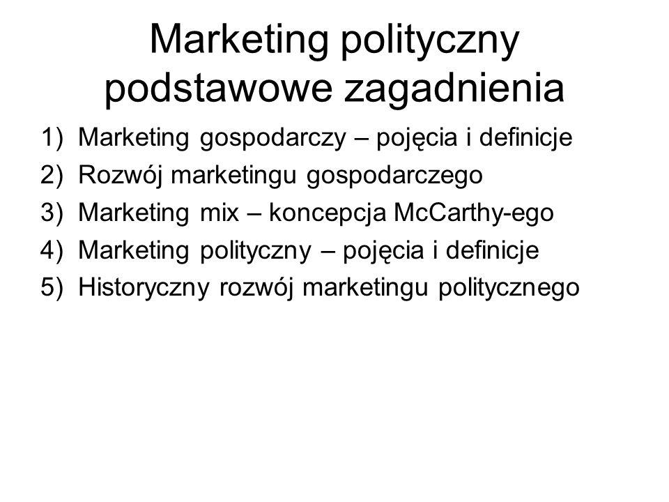 Marketing polityczny podstawowe zagadnienia 1)Marketing gospodarczy – pojęcia i definicje 2)Rozwój marketingu gospodarczego 3)Marketing mix – koncepcj