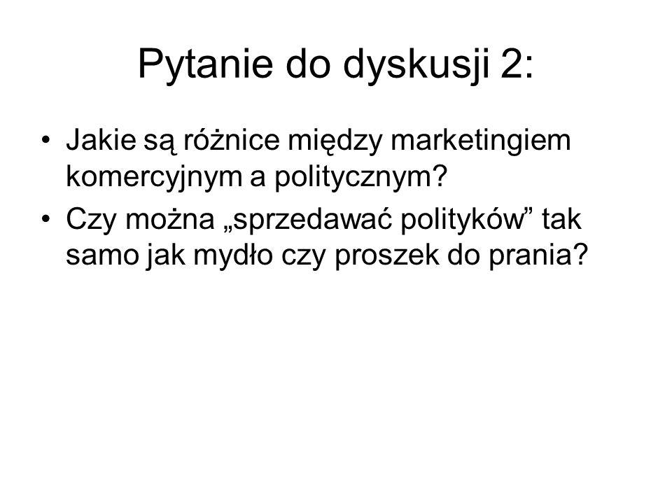 """Pytanie do dyskusji 2: Jakie są różnice między marketingiem komercyjnym a politycznym? Czy można """"sprzedawać polityków"""" tak samo jak mydło czy proszek"""
