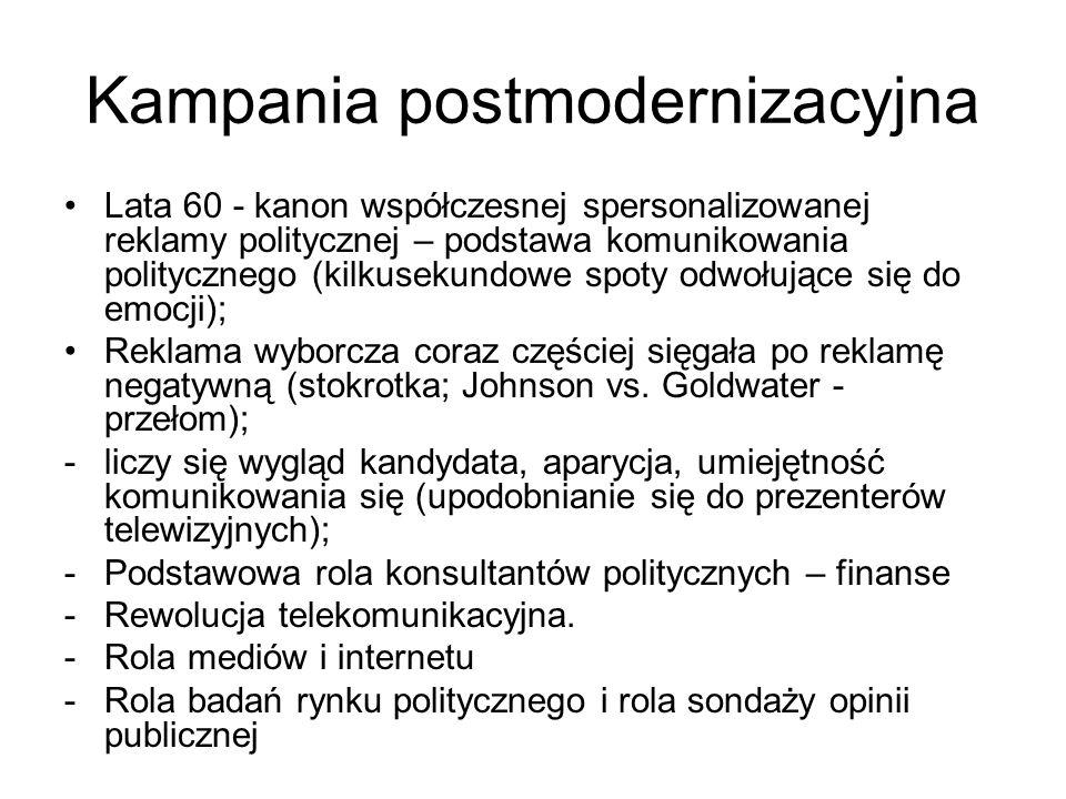 Kampania postmodernizacyjna Lata 60 - kanon współczesnej spersonalizowanej reklamy politycznej – podstawa komunikowania politycznego (kilkusekundowe s