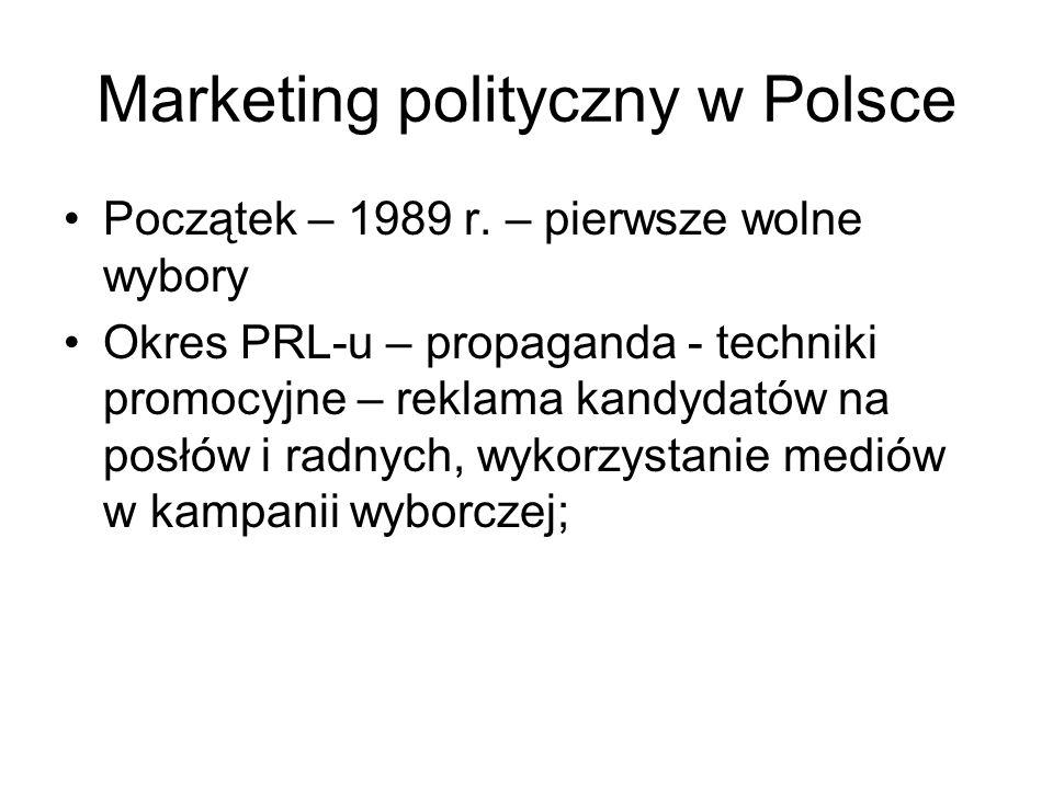 Marketing polityczny w Polsce Początek – 1989 r. – pierwsze wolne wybory Okres PRL-u – propaganda - techniki promocyjne – reklama kandydatów na posłów