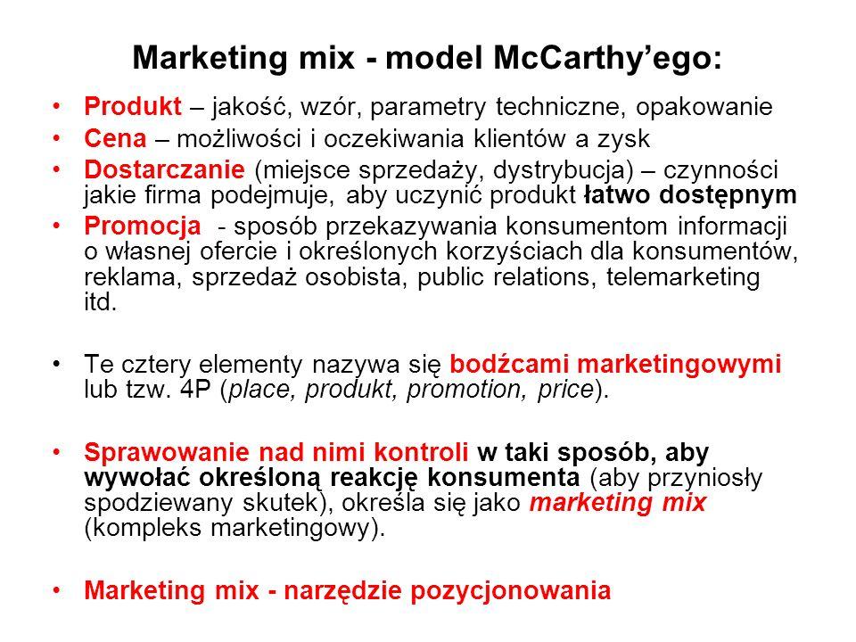 Marketing mix - model McCarthy'ego: Produkt – jakość, wzór, parametry techniczne, opakowanie Cena – możliwości i oczekiwania klientów a zysk Dostarcza