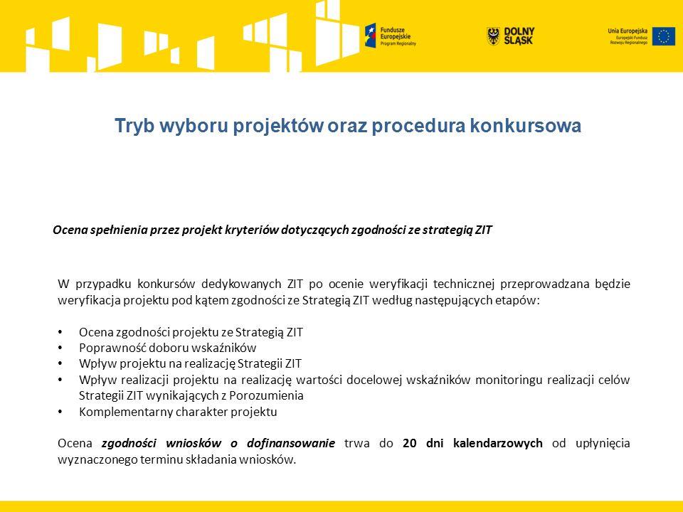 Ocena spełnienia przez projekt kryteriów dotyczących zgodności ze strategią ZIT W przypadku konkursów dedykowanych ZIT po ocenie weryfikacji techniczn