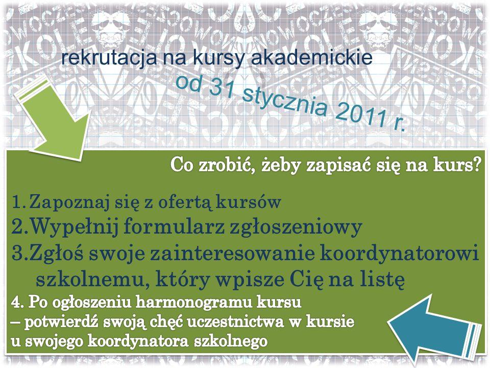 rekrutacja na kursy akademickie od 31 stycznia 2011 r.