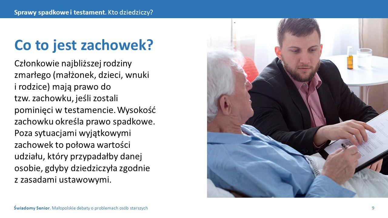 Świadomy Senior. Małopolskie debaty o problemach osób starszych9 Sprawy spadkowe i testament. Kto dziedziczy? Co to jest zachowek? Członkowie najbliżs