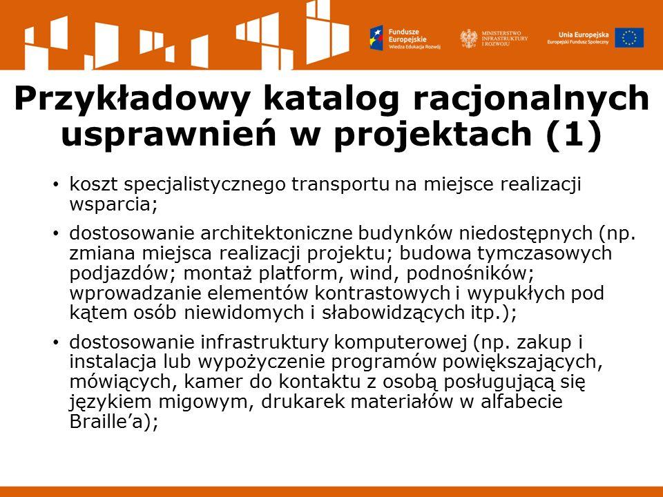 Przykładowy katalog racjonalnych usprawnień w projektach (1) koszt specjalistycznego transportu na miejsce realizacji wsparcia; dostosowanie architektoniczne budynków niedostępnych (np.