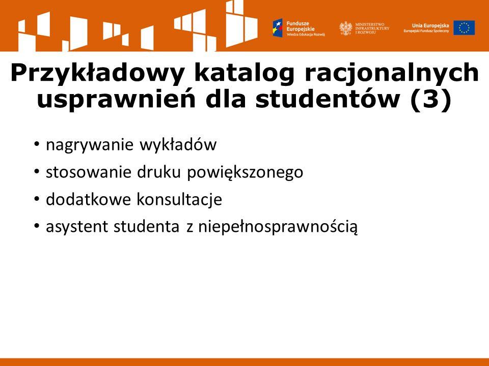 Przykładowy katalog racjonalnych usprawnień dla studentów (3) nagrywanie wykładów stosowanie druku powiększonego dodatkowe konsultacje asystent studenta z niepełnosprawnością