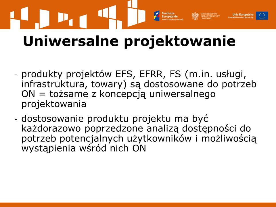 Uniwersalne projektowanie - produkty projektów EFS, EFRR, FS (m.in.
