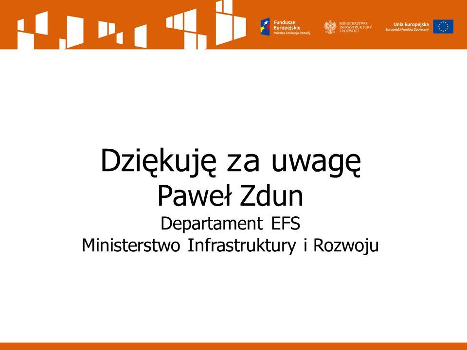 Dziękuję za uwagę Paweł Zdun Departament EFS Ministerstwo Infrastruktury i Rozwoju