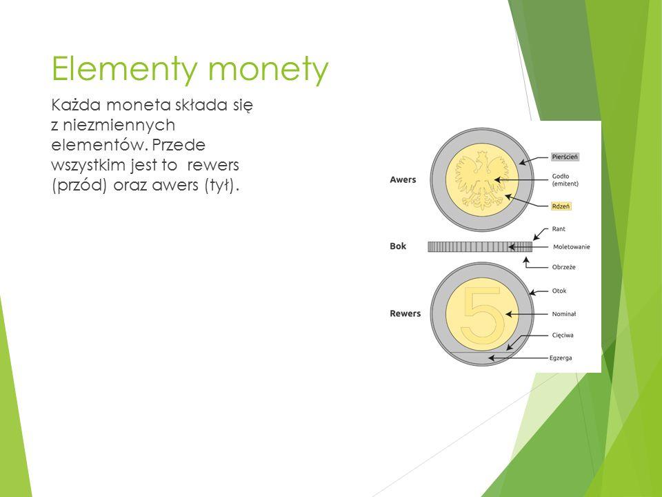 Elementy monety Każda moneta składa się z niezmiennych elementów. Przede wszystkim jest to rewers (przód) oraz awers (tył).