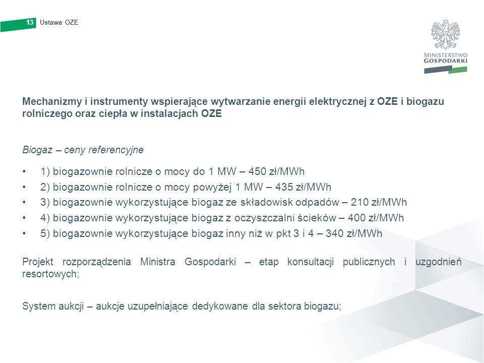13Ustawa OZE13 Mechanizmy i instrumenty wspierające wytwarzanie energii elektrycznej z OZE i biogazu rolniczego oraz ciepła w instalacjach OZE Biogaz