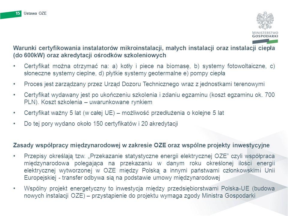 15Ustawa OZE15 Warunki certyfikowania instalatorów mikroinstalacji, małych instalacji oraz instalacji ciepła (do 600kW) oraz akredytacji ośrodków szko