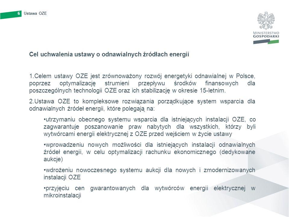 6Ustawa OZE6 Cel uchwalenia ustawy o odnawialnych źródłach energii 1.Celem ustawy OZE jest zrównoważony rozwój energetyki odnawialnej w Polsce, poprze