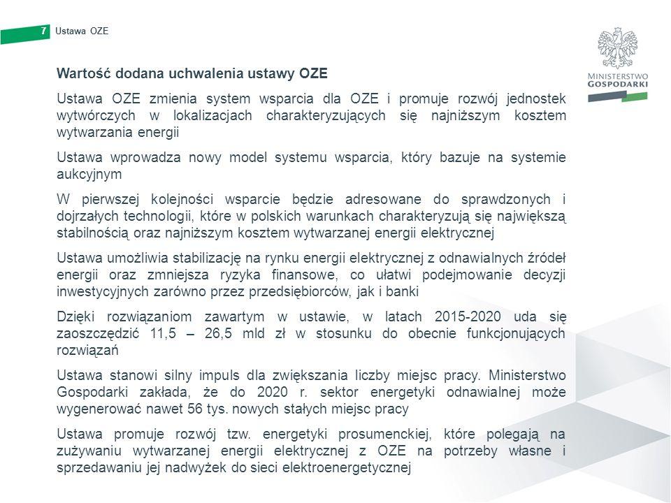 7Ustawa OZE7 Wartość dodana uchwalenia ustawy OZE Ustawa OZE zmienia system wsparcia dla OZE i promuje rozwój jednostek wytwórczych w lokalizacjach ch