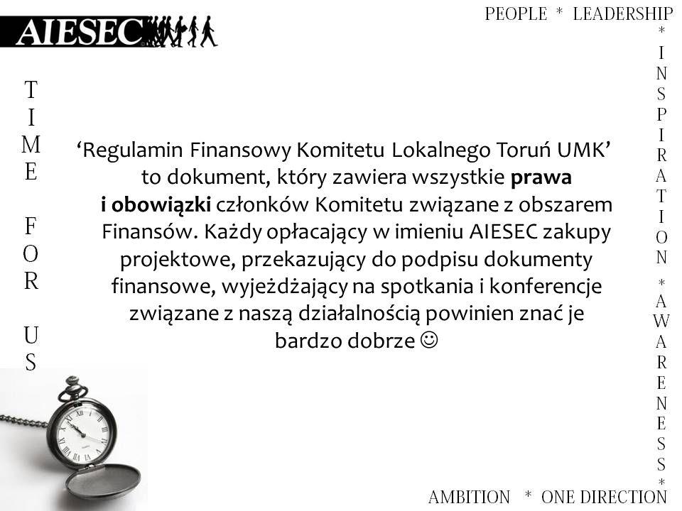 'Regulamin Finansowy Komitetu Lokalnego Toruń UMK' to dokument, który zawiera wszystkie prawa i obowiązki członków Komitetu związane z obszarem Finansów.
