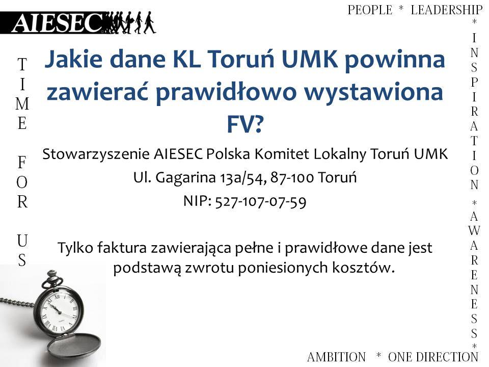 Jakie dane KL Toruń UMK powinna zawierać prawidłowo wystawiona FV.
