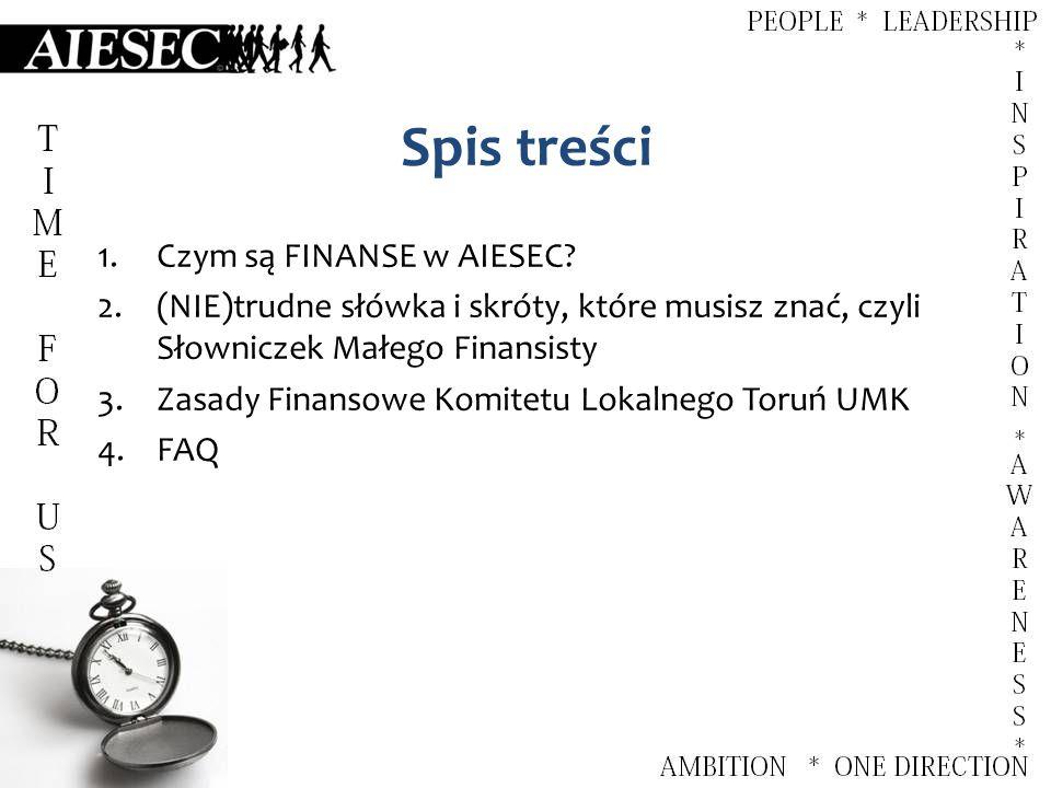 Spis treści 1.Czym są FINANSE w AIESEC.