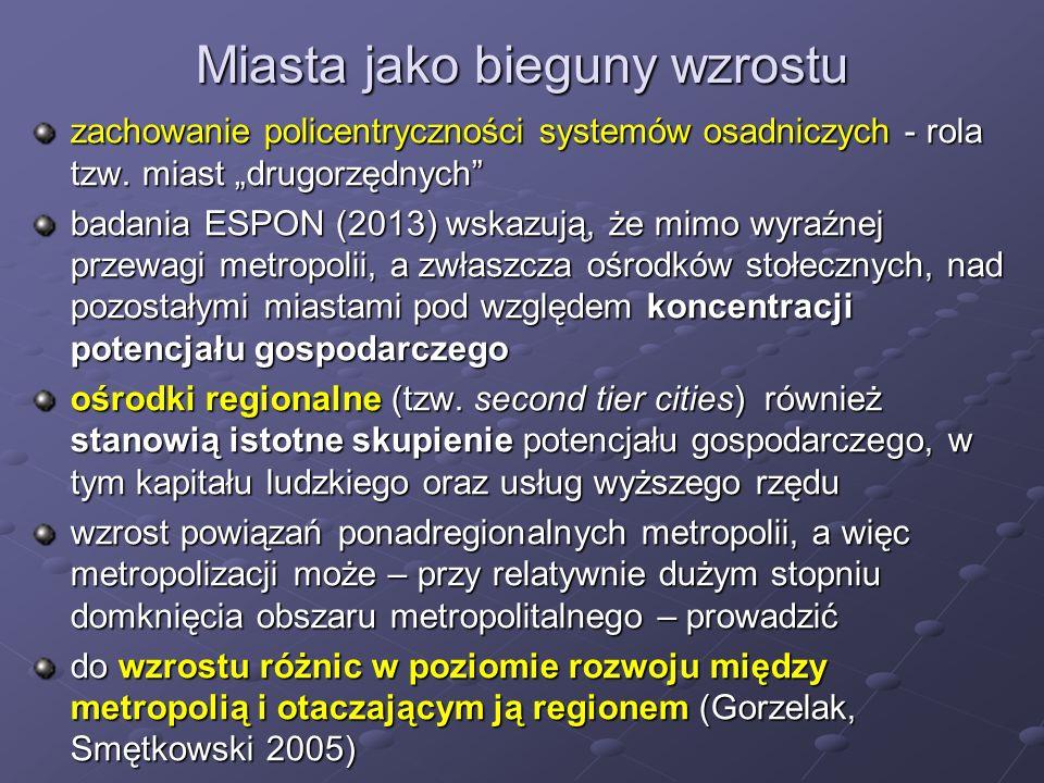 """Miasta jako bieguny wzrostu zachowanie policentryczności systemów osadniczych - rola tzw. miast """"drugorzędnych"""" badania ESPON (2013) wskazują, że mimo"""