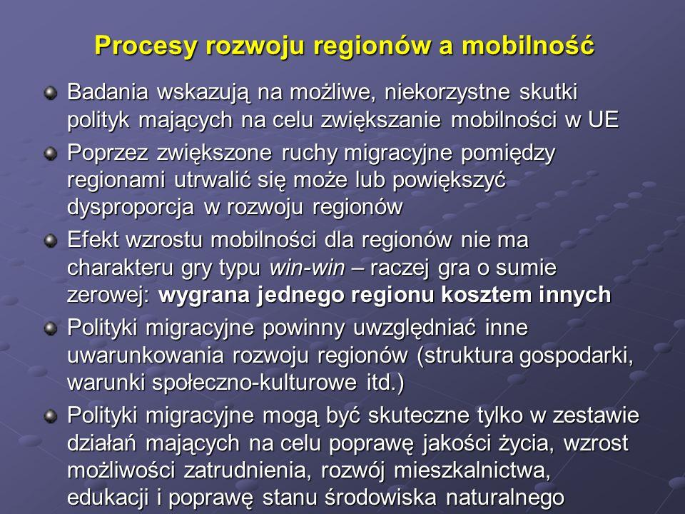 Procesy rozwoju regionów a mobilność Badania wskazują na możliwe, niekorzystne skutki polityk mających na celu zwiększanie mobilności w UE Poprzez zwi