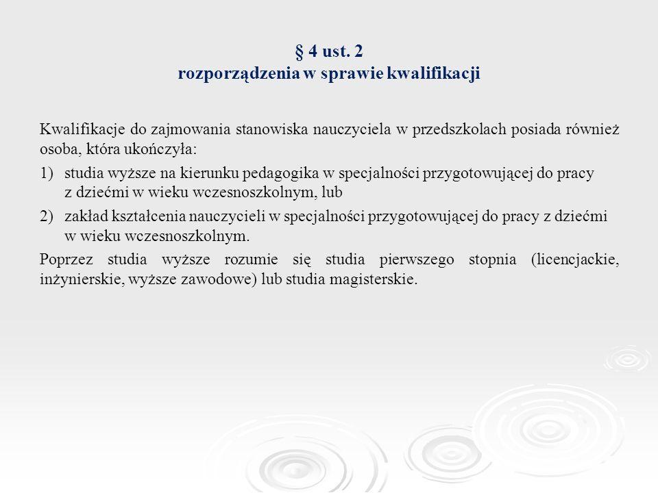 § 4 ust. 2 rozporządzenia w sprawie kwalifikacji Kwalifikacje do zajmowania stanowiska nauczyciela w przedszkolach posiada również osoba, która ukończ