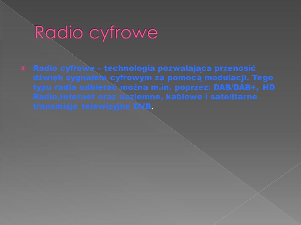  Radio cyfrowe – technologia pozwalająca przenosić dźwięk sygnałem cyfrowym za pomocą modulacji.