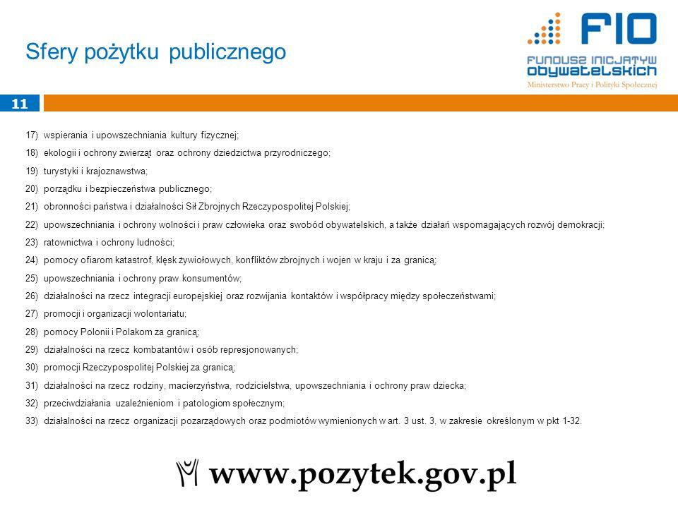 Sfery pożytku publicznego 17) wspierania i upowszechniania kultury fizycznej; 18) ekologii i ochrony zwierząt oraz ochrony dziedzictwa przyrodniczego;