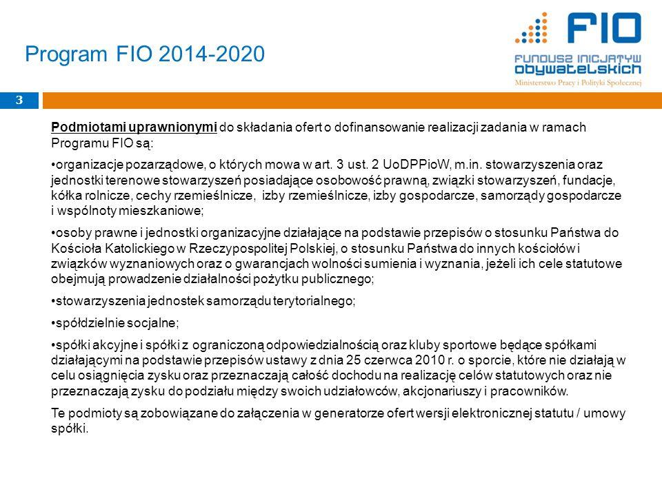 Podmiotami uprawnionymi do składania ofert o dofinansowanie realizacji zadania w ramach Programu FIO są: organizacje pozarządowe, o których mowa w art