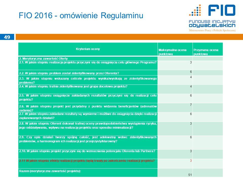 FIO 2016 - omówienie Regulaminu Kryterium oceny Maksymalna ocena punktowa Przyznana ocena punktowa 2. Merytoryczna zawartość Oferty 2.1. W jakim stopn