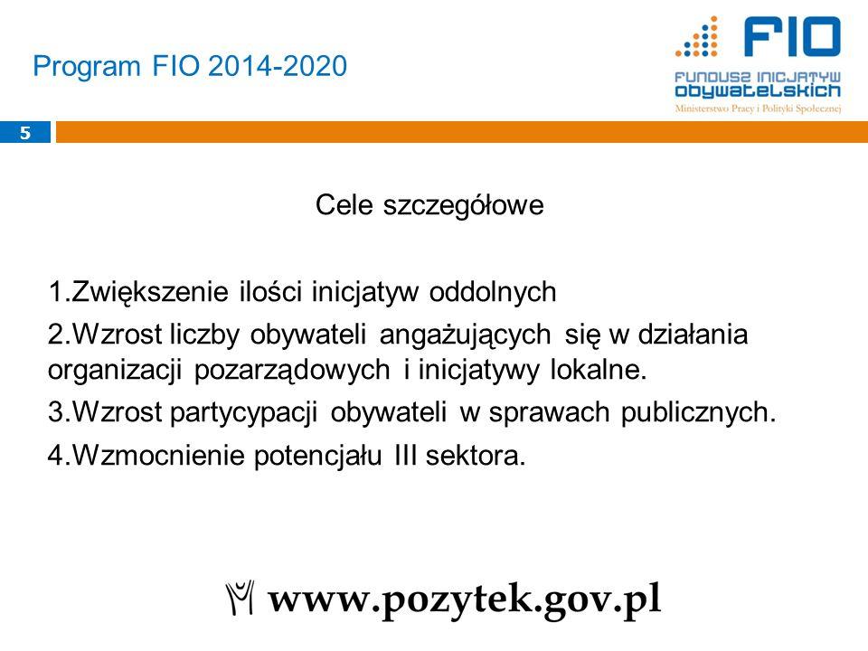 Program FIO 2014-2020 5 Cele szczegółowe 1.Zwiększenie ilości inicjatyw oddolnych 2.Wzrost liczby obywateli angażujących się w działania organizacji p