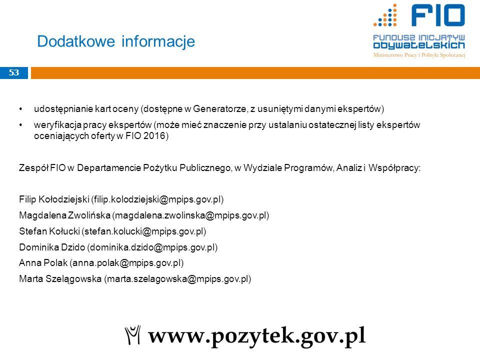 udostępnianie kart oceny (dostępne w Generatorze, z usuniętymi danymi ekspertów) weryfikacja pracy ekspertów (może mieć znaczenie przy ustalaniu ostat