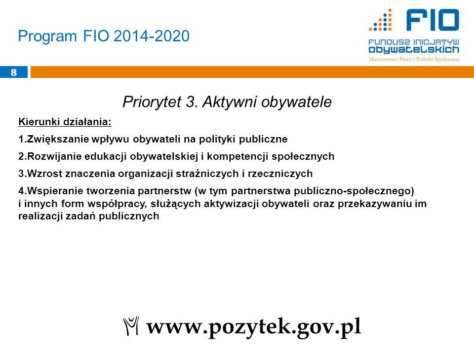 Program FIO 2014-2020 8 Priorytet 3. Aktywni obywatele Kierunki działania: 1.Zwiększanie wpływu obywateli na polityki publiczne 2.Rozwijanie edukacji
