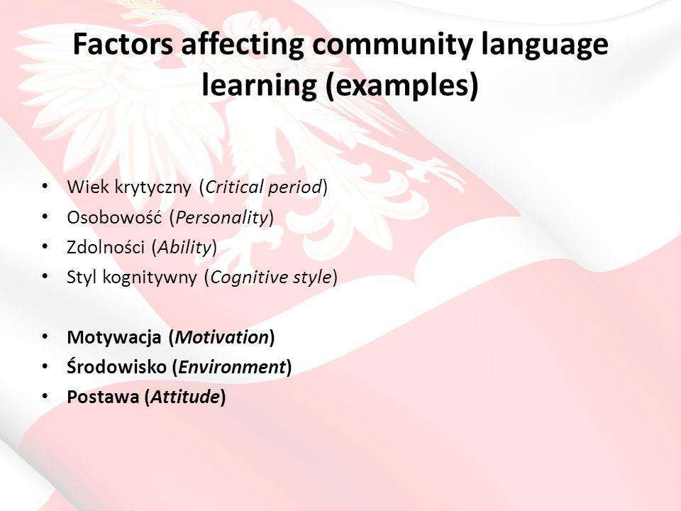 Factors affecting community language learning (examples) Wiek krytyczny (Critical period) Osobowość (Personality) Zdolności (Ability) Styl kognitywny (Cognitive style) Motywacja (Motivation) Środowisko (Environment) Postawa (Attitude)