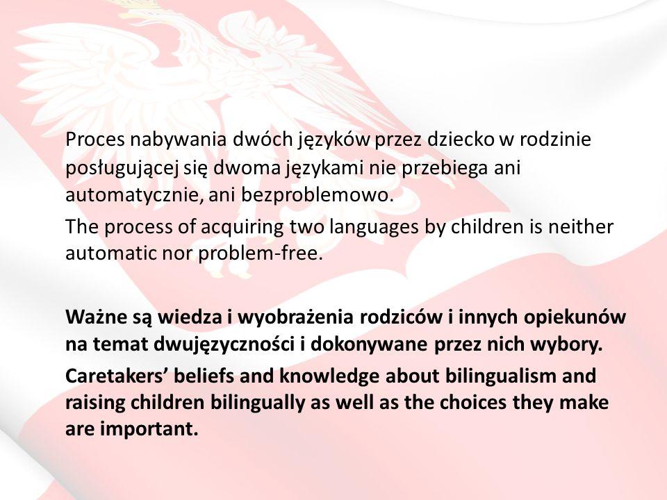 Proces nabywania dwóch języków przez dziecko w rodzinie posługującej się dwoma językami nie przebiega ani automatycznie, ani bezproblemowo.