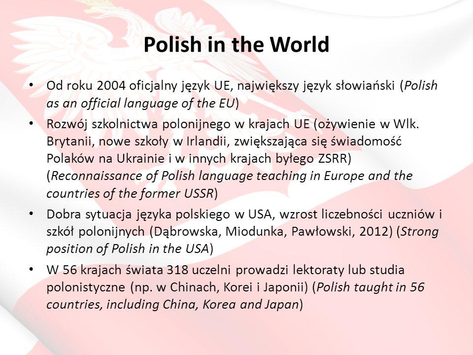 Polish in the World Język20112006Zmiana 1.mandaryński336,178220,604+115,574 2.