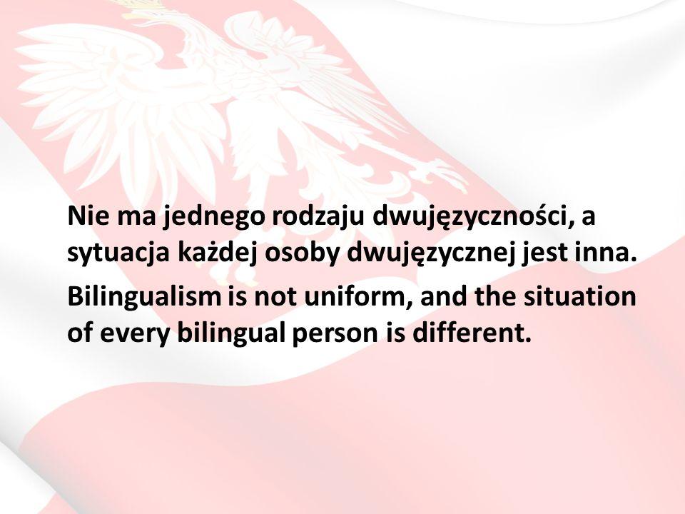 Becoming a bilingual person Dwujęzyczność symultaniczna (równoczesny) (Simultaneous bilingualism) Dwujęzyczność sukcesywna (gdy język drugi nabywany jest po uprzednim częściowym opanowaniu języka pierwszego) (Successive bilingualism) Dwujęzyczność pełna – gdy J2 rozwinął się w mowie i piśmie w obrębie wszystkich sprawności językowych i ról społecznych (Full bilingualism) Dwujęzyczność zrównoważona – gdy stopień kompetencji w obydwu językach jest w przybliżeniu taki sam (Balanced bilingualism) Dwujęzyczność funkcjonalna – gdy każdy z języków spełnia określone funkcje komunikacyjne (Functional bilingualism)