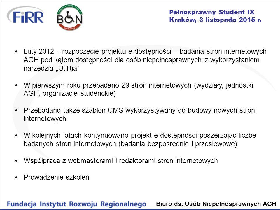 Pełnosprawny Student IX Kraków, 3 listopada 2015 r. Biuro ds. Osób Niepełnosprawnych AGH Luty 2012 – rozpoczęcie projektu e-dostępności – badania stro