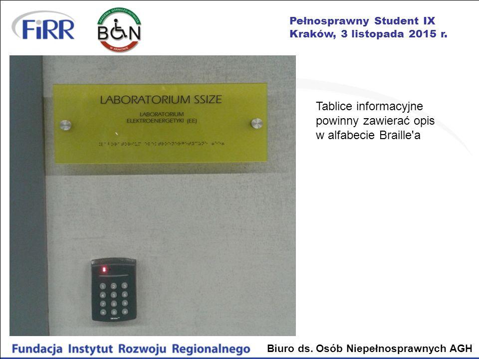 Pełnosprawny Student IX Kraków, 3 listopada 2015 r. Biuro ds. Osób Niepełnosprawnych AGH Tablice informacyjne powinny zawierać opis w alfabecie Braill