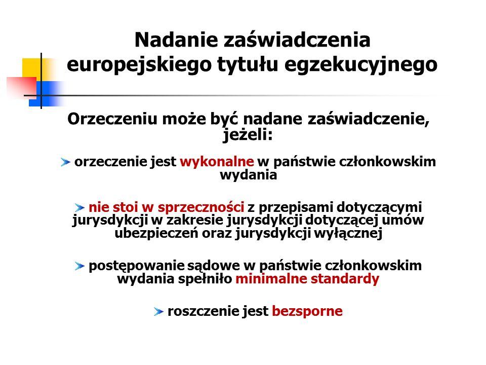 Nadanie zaświadczenia europejskiego tytułu egzekucyjnego Orzeczeniu może być nadane zaświadczenie, jeżeli: orzeczenie jest wykonalne w państwie członk