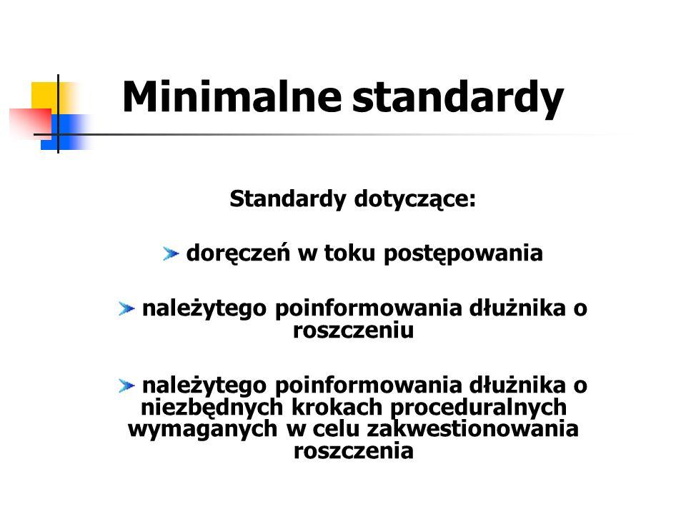 Minimalne standardy Standardy dotyczące: doręczeń w toku postępowania należytego poinformowania dłużnika o roszczeniu należytego poinformowania dłużni