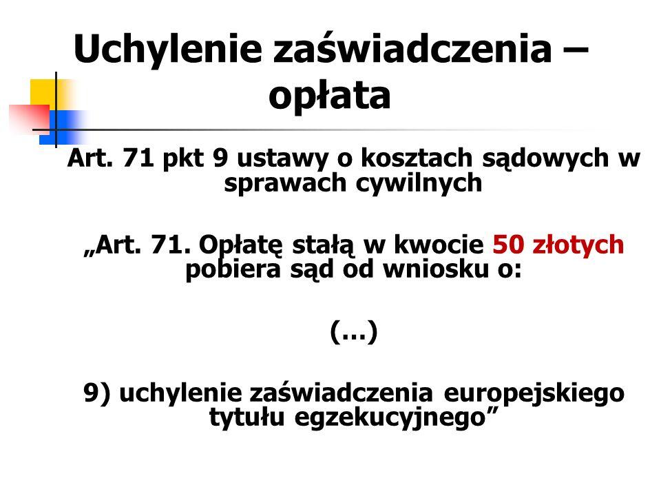 """Uchylenie zaświadczenia – opłata Art. 71 pkt 9 ustawy o kosztach sądowych w sprawach cywilnych """"Art. 71. Opłatę stałą w kwocie 50 złotych pobiera sąd"""