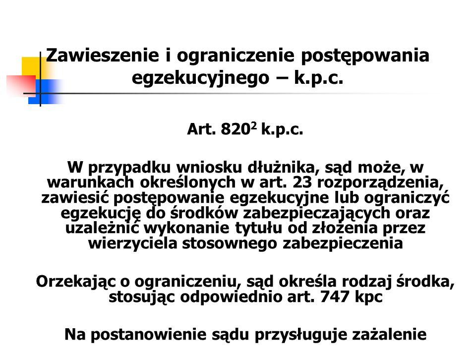 Zawieszenie i ograniczenie postępowania egzekucyjnego – k.p.c. Art. 820 2 k.p.c. W przypadku wniosku dłużnika, sąd może, w warunkach określonych w art