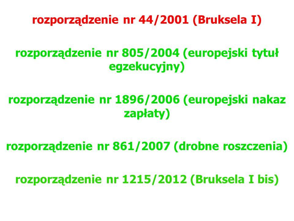 rozporządzenie nr 44/2001 (Bruksela I) rozporządzenie nr 805/2004 (europejski tytuł egzekucyjny) rozporządzenie nr 1896/2006 (europejski nakaz zapłaty