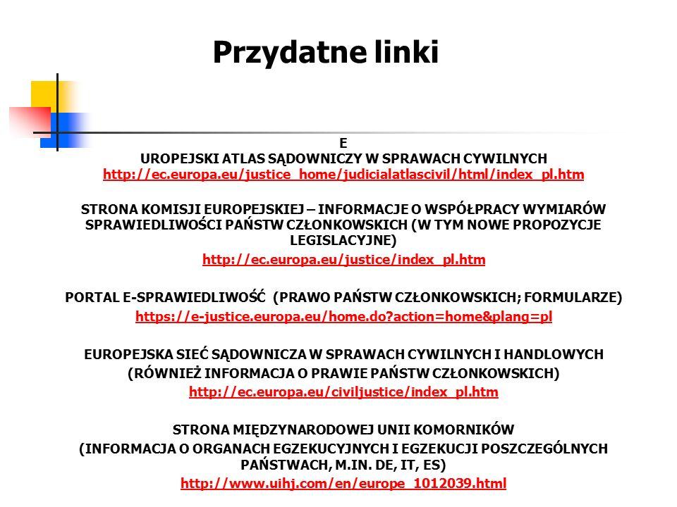 Przydatne linki E UROPEJSKI ATLAS SĄDOWNICZY W SPRAWACH CYWILNYCH http://ec.europa.eu/justice_home/judicialatlascivil/html/index_pl.htm STRONA KOMISJI