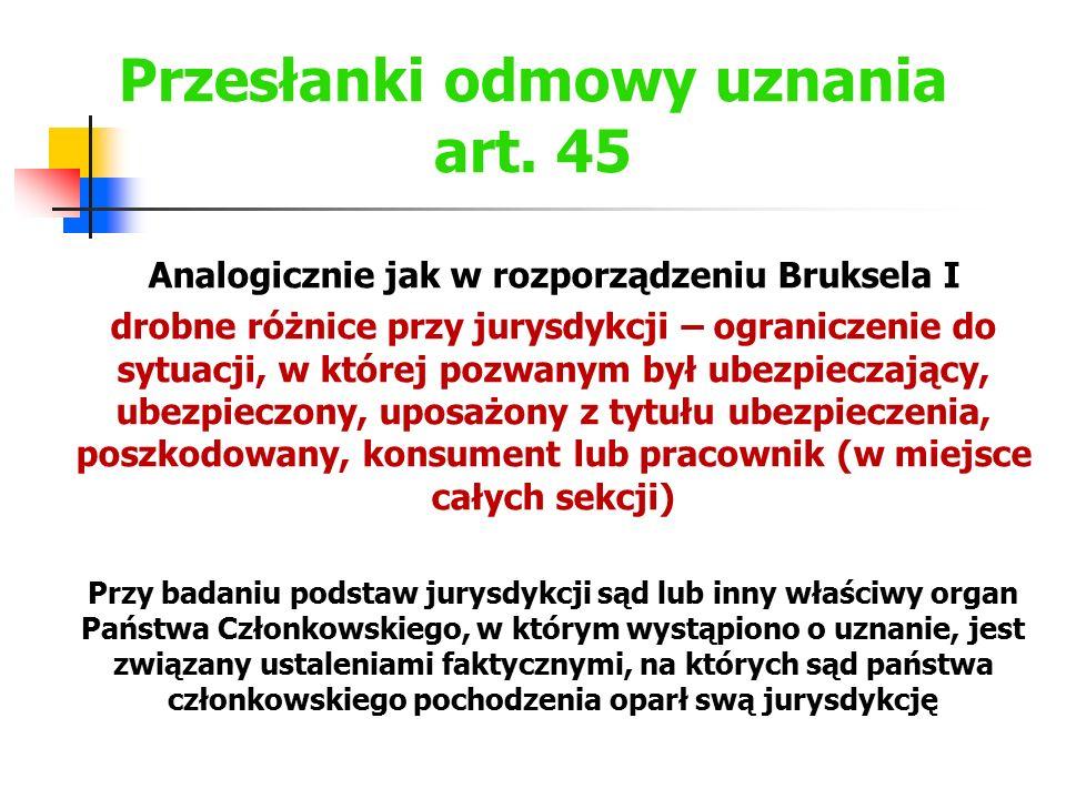 Przesłanki odmowy uznania art. 45 Analogicznie jak w rozporządzeniu Bruksela I drobne różnice przy jurysdykcji – ograniczenie do sytuacji, w której po