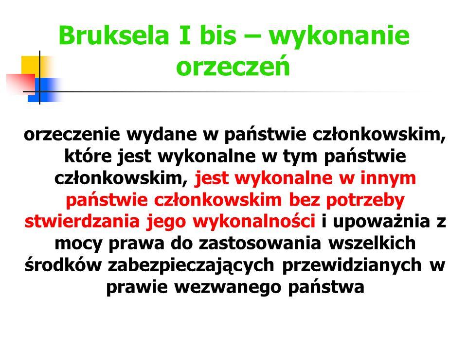 Bruksela I bis – wykonanie orzeczeń orzeczenie wydane w państwie członkowskim, które jest wykonalne w tym państwie członkowskim, jest wykonalne w inny