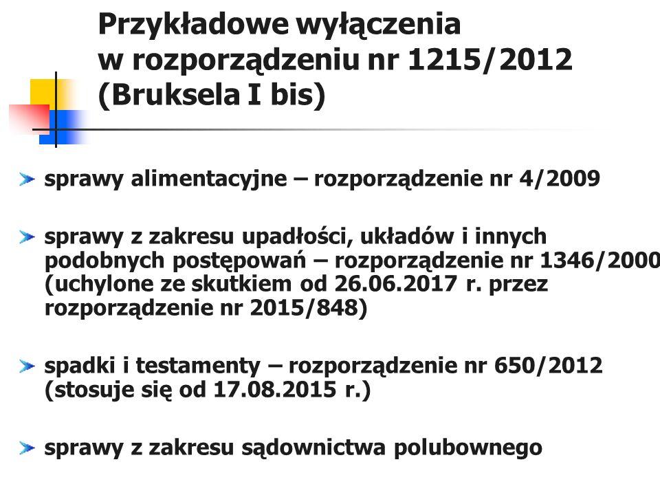 Przykładowe wyłączenia w rozporządzeniu nr 1215/2012 (Bruksela I bis) sprawy alimentacyjne – rozporządzenie nr 4/2009 sprawy z zakresu upadłości, ukła