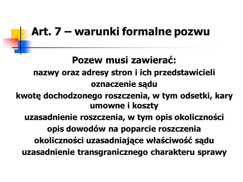 Art. 7 – warunki formalne pozwu Pozew musi zawierać: nazwy oraz adresy stron i ich przedstawicieli oznaczenie sądu kwotę dochodzonego roszczenia, w ty