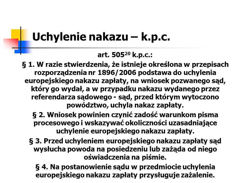 Uchylenie nakazu – k.p.c. art. 505 20 k.p.c.: § 1. W razie stwierdzenia, że istnieje określona w przepisach rozporządzenia nr 1896/2006 podstawa do uc