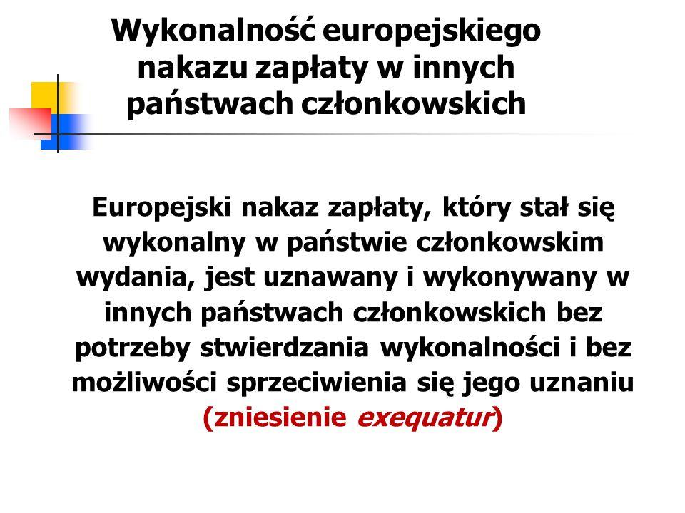 Wykonalność europejskiego nakazu zapłaty w innych państwach członkowskich Europejski nakaz zapłaty, który stał się wykonalny w państwie członkowskim w
