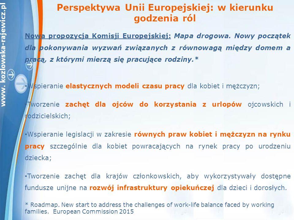 www. kozlowska-rajewicz.pl Nowa propozycja Komisji Europejskiej: Mapa drogowa.