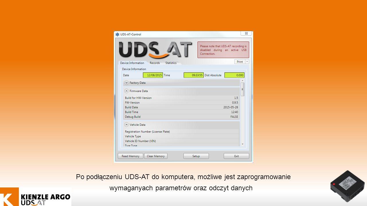 Po podłączeniu UDS-AT do komputera, możliwe jest zaprogramowanie wymaganyach parametrów oraz odczyt danych